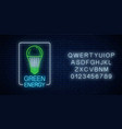 glowing neon sign green led light bulb with vector image vector image