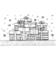 Hand - drawn pile of Christmas gifts on white vector image vector image