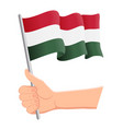 hand holding and waving national flag of vector image vector image
