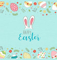 happy easter card of spring egg hunt with flowers vector image vector image