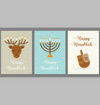 happy hanukkah greeting card deer and candle men vector image vector image