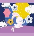 happy mid autumn festival cute rabbit chinese vector image vector image