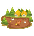 house with chickens on white background vector image