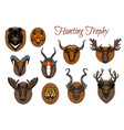 hunting sport trophy animal heads and antlers vector image vector image