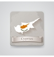 Icon of Cyprus map with flag vector image vector image