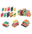 isometric book set books school library vector image vector image