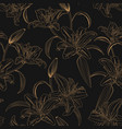 lily flower seamless pattern on black background vector image vector image