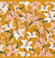 lily flower seamless pattern on yellow background vector image