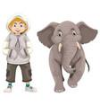 little boy and baby elephant vector image