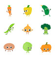 live vegetable icons set cartoon style vector image vector image