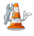 mechanic on traffic cone against mascot argaet vector image vector image