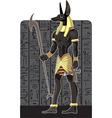 Mighty Great dark Anubis on dark Egypt background vector image