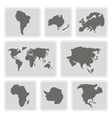 monochrome icons with continents vector image