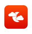 moon and clouds icon digital red vector image vector image