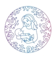 Mother and baby inside round frame vector image vector image