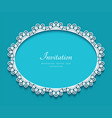 oval frame with cutout lace border pattern vector image