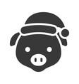 pig wearing santa hat silhouette icon design vector image vector image
