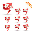 Sale discount colored origami banners - - E vector image