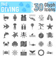 scuba diving glyph icon set underwater symbols vector image vector image