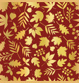 seamless background autumn leaves gold foil vector image vector image
