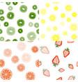 seamless pattern strawberry lemon orange vector image vector image
