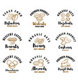 set emblems with raw nuts pistachios walnuts vector image