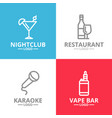 set of night club karaoke disco cocktail logo vector image