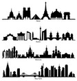set of skyline silhouette vector image vector image
