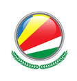 seychelles flag button seychelles flag icon of vector image