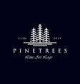 simple line art evergreen pine tree logo design vector image vector image