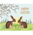 spring landscape forest easter hares vector image vector image