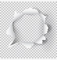 torn ripped paper hole on transparent background vector image