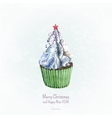 Watercolor cupcake on blue background vector image