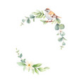 watercolor wreath with green branches and vector image
