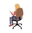 Woman Sitting on Chair and Pointing on Something vector image vector image