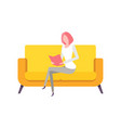 woman working at home lady reading book vector image vector image