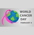 world cancer day poster with pink ribbon vector image