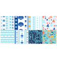 sea and ocean seamless patterns set vector image