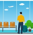 Airport Waiting Room with Man vector image vector image