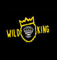 angry gorilla with a crown wild king on a dark vector image vector image
