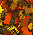 animal silhouettes seamless pattern vector image