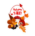 autumn season sale poster with leaf mushroom vector image vector image