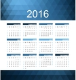 blue calendar 2016 vector image