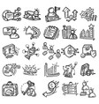 business icon set hand drawn icon design outline vector image vector image