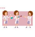 cartoon flat doctor kid girl character set vector image