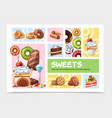 cartoon sweets infographic concept vector image