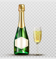 champagne bottle and wineglass isolated clip art vector image vector image