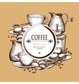 Coffee set vintage style composition poster vector image vector image