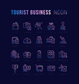 collection linear neon icons tourist business vector image