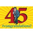 Congratulations 45 anniversary event celebration vector image vector image
